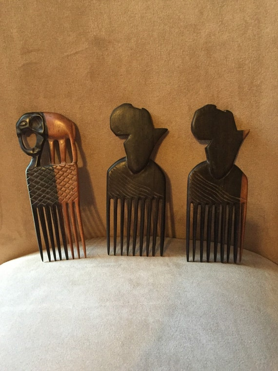 Hand Carved Wooden Afro Picks By Rnbghanaianfashions On Etsy