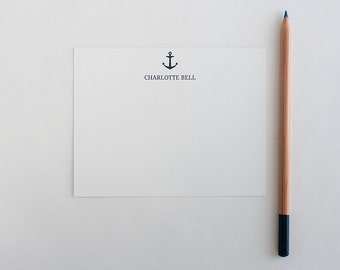 Personalized Stationery - Set of 10 Note Cards // Anchor Stationery // Nautical Stationery // Beachy Note Cards // Preppy Stationery Set