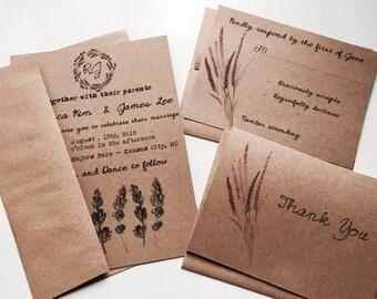 Budget saving Lavender wedding invitation - boho wedding - country wedding invitation - rustic wedding invitation - brown kraft
