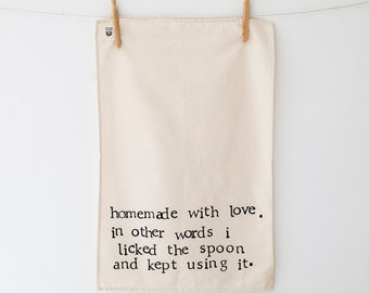 Homemade With Love - Funny Tea Towel - Gift - Cooking