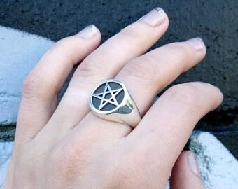 HEX, Pentagram Ring / Silver Pentagram Ring / Pentagram Signet