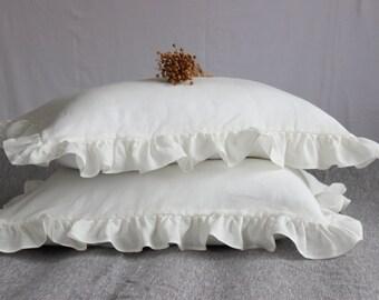 Organic Stone Washed Frill Pillow Sham Pillowcase Flounces Standard King EUR Queen Pillow Cover Linen Bedding Organic Pillow slip Super Soft