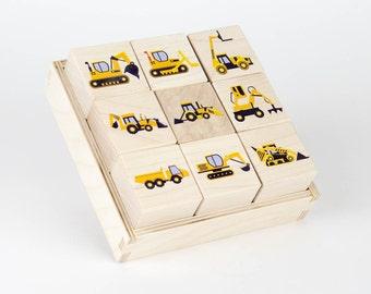Wooden Construction Vehicle Toy Blocks
