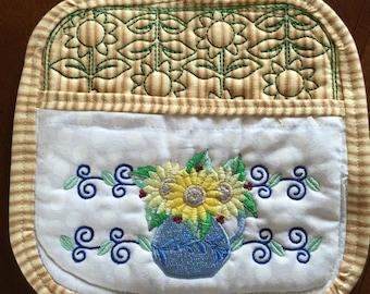 Embroidered Sunflower Pot Holder