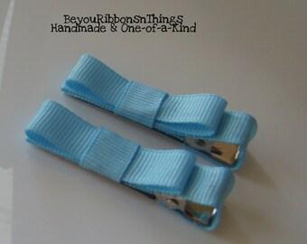 Light Blue Hair Clips for Girls Toddler Barrette Kids Hair Accessories Grosgrain Ribbon No Slip Grip