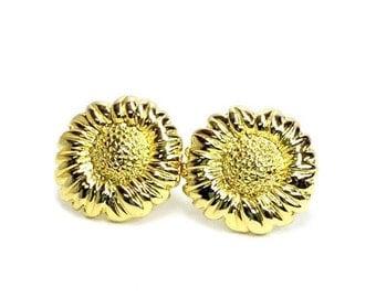 vintage gold tone sunflower post back earrings