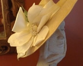 Sonni San Francisco Magnolia Straw Picture Hat Off White Satin Bow/ Kentucky Derby Party/ Tea Party/ Garden Party/ Great Gatsby/ Wedding