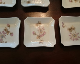 12 Antique Haviland LImoges Butter Pat Plates/  Hand Painted Passion Flowers/ 12 Tiny Plates/ C. H. Field/ CFG GDM/ France