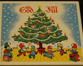 Vintage Berggren hand painted Christmas holiday tile SWEDISH