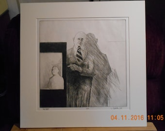"""Larry Scholder """"The Poet"""", etching 1967, pencil signed, NICE!!"""