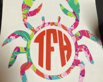 Lilly Pulitzer Inspired Crab Monogram Yeti Sticker