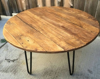 Old fart circular reasoning coffee table, reclaimed wood, craft furniture, mid century Modern, vintage, rustic,