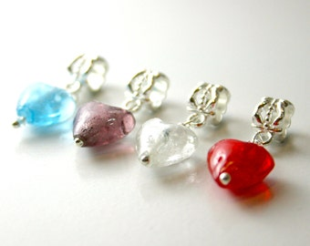 4 Heart Glass Silver Plated Bail Bead Charms Pandora European Bracelets