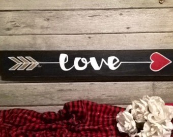 The Direction of LOVE Arrow Hand Painted Wooden Sign Distressed Rustic Primitive Home Decor