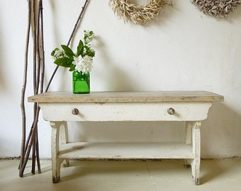 Rustic antique bench with drawer from France...CHARMANT!