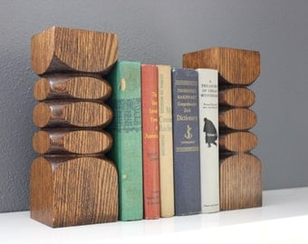Pair of Solid Wood Pillar Candle Holder / Bookends / Oak Sculpture