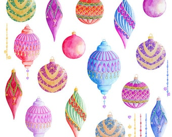 Christmas Ornaments Watercolor Clipart, Hand Painted Elements, Invitation, Christmas Card, Greeting Card, DIY Elements