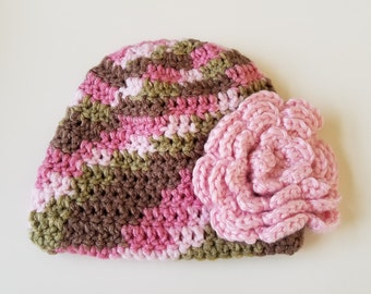 Baby Crochet Hat in Pinks and Browns with Crochet Flower Accent