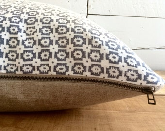 """Linen lumbar pillow cover, Blue & White Stamps, Size: 15"""" x 25"""" (No feather insert)"""