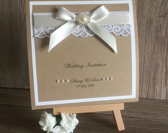 Vintage Kraft Pocketfold Wedding Invitation