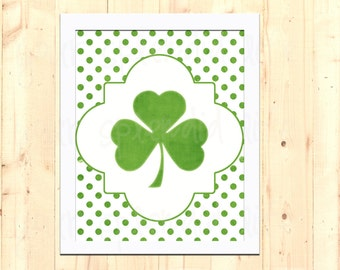 Shamrock Polka Dot St Patrick's Day Printable 8 x 10