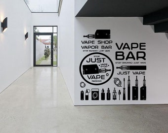 Removable Vinyl Sticker Mural Decal Wall Decor Poster Art Vaporizer Vape Cafe Smoke Shop E Cigarettes Liquid Store Indoor Outdoor Sign SA819