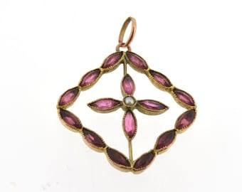 Vintage Garnet and Pearl Pendant, Garnet Pendant, Garnet Necklace, Vintage Garnet and Seed Pearl Pendant