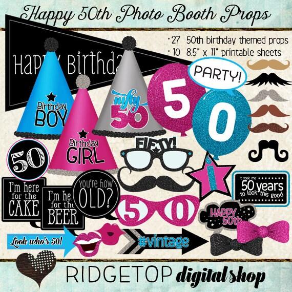 Photo Booth Props HAPPY 50TH BIRTHDAY By RidgetopDigitalShop