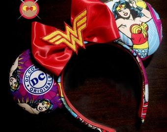Wonder Woman Mickey Ear Headband with Embroidered Logo