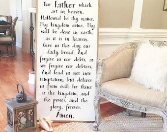 2'x4' The Lord's Prayer Wood Sign, Matthew 6:9–13
