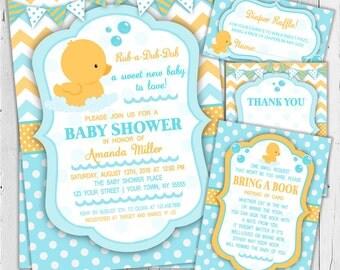 Rubber Duck Baby Shower Invitation / Boy Baby Shower Invitation / Girl Baby Shower Invitation / Printable Baby Shower Invitation