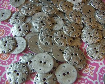 """Unique  Pewter Silver Metal Buttons  Vintage Large 1"""" Pewter Buttons Vintages 1970's Buttons 8 pcs"""