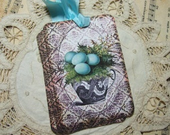 Set of FOUR Vintage Shabby Cottage Robin Egg Tea Cup Hang / Gift tags