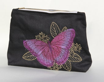 Butterfly Embroidered Clutch Lined