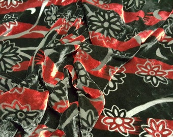 Silk Stripe Floral Burnout Velvet