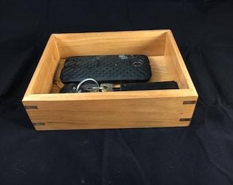 Cherry Wood Valet Box. Wood Tray