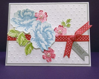 Friendship Card Hand Stamped - Stampin' Up