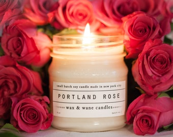 Portland Rose Candle -  All Natural Oregon Soy Candle - Spring Summer Original Unique Gift
