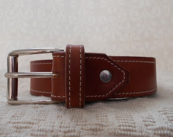 Male belt in light brown leather, men's leather belt, handmade leather belt, leather items