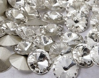 20 x Clear 8mm Faceted Glass Pointback Rhinestones Rivoli Back Plated SS38