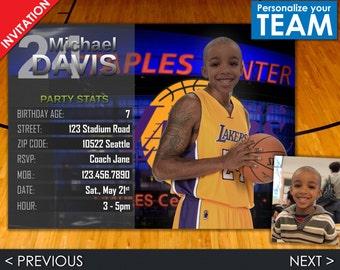 NBA Invitation - Los Angeles Lakers Invite - LA Lakers Basketball Birthday Party - Choose your team!