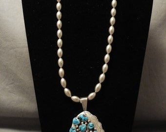 Advanced Silver Work 'Unique Bead' Turquoise Silver Necklace