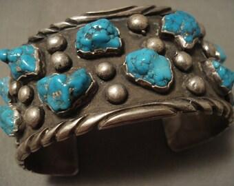 Chunky Dunky Vintage Navajo Old Kingman Turquoise Silver Bracelet