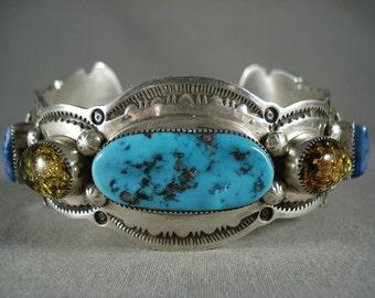 Dramatic Vintage Navajo Turquoise Lapis Trapazoid Silver Bracelet