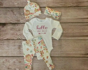 Baby/ Newborn Hello World Outfit/ Hospital Outfit/ Take Home Outfit