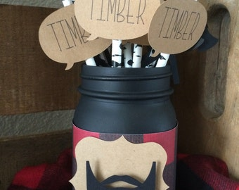 Birch tree timber paper straws , lumberjack party decor jar for purchase as well
