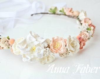Peach floral crown, Bridal crown, wedding flower crown, flower crown, wedding crown, floral head wreath,ivory floral crown