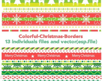Colorful christmas borders pack Clipart, Digital Download ,Quotes Scrapbooking, Supplies, Vectors files ,Personal Use
