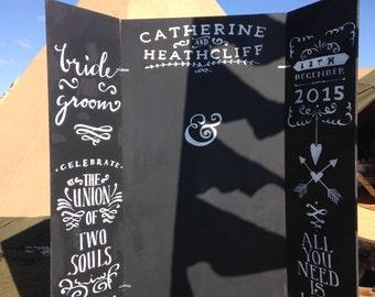 Chalkboard backdrop, HIRE, Giant blackboard, wedding photobooth, Personalised Wedding chalkboard, wedding prop, photo prop
