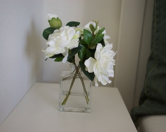 Timeless White Artificial Blooms in Glass Bottle